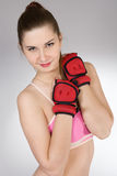 Girl in the sports form Stock Images