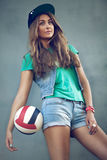 Girl sports style. Girl dressed in an urban style sports Stock Image