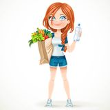 Girl in a sports suit holds a paper bag of healthy food amd water Stock Photography