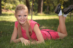Girl in sportswear on nature Stock Images