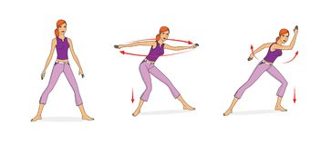 Girl in sportswear performs stretching and balance exercises. Squats, spins, waving her arms, bending. Isolated on white. Background stock illustration