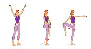 Girl in sportswear performs stretching and balance exercises. Squats, spins, waving her arms, bending. Isolated on white. Background vector illustration