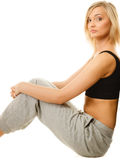 Girl in sportwear, fitness woman isolated Stock Photos