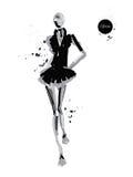 Girl-spray-black. Vector fashion model. Vector sketch silhouette. Vector vintage lady. Dress pencil sketch. Vector fashion outline. Vector style lady. Vector Royalty Free Illustration