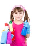Girl with spray and bucket in hands ready to help with cleaning. isolated Royalty Free Stock Photography