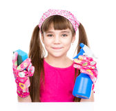Girl with spray in hand ready to help with cleaning. isolated Royalty Free Stock Image