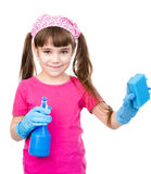 Girl with spray and sponge in hands ready to help with cleaning.  isolated on white Royalty Free Stock Photo