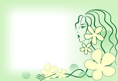 Girl-spring. Woman's profile with space for text Stock Photography