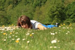 Girl in spring Stock Photo
