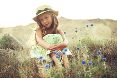 Girl in spring field royalty free stock image