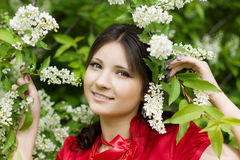 Girl with spring flowers Stock Photo