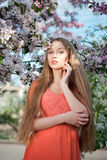 Girl in spring flowers Royalty Free Stock Images
