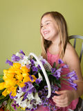 Girl with Spring Flowers, Easter Royalty Free Stock Photography