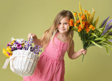 Girl with Spring Flowers Stock Photos