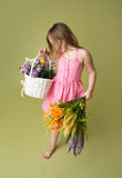 Girl with Spring Flowers Royalty Free Stock Image