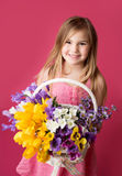 Girl with Spring Flowers Stock Image