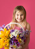 Girl with Spring Flowers Stock Photography