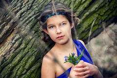 Girl in spring forest Royalty Free Stock Images