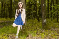 Girl in the spring forest Royalty Free Stock Photo