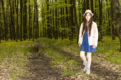 Girl in the spring forest Royalty Free Stock Images