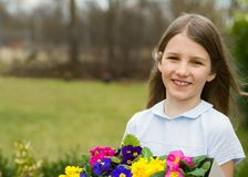 Girl in spring garde Royalty Free Stock Photos