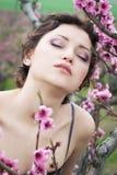 Girl in spring garden Royalty Free Stock Image