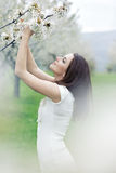 Girl in spring garden Stock Photography
