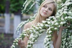 Girl in spring garden Royalty Free Stock Photos