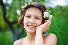 Girl in spring garden Royalty Free Stock Images