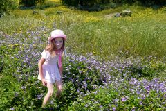 Girl in spring landscape stock photo