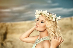 Girl, spring, wreath, canyon Royalty Free Stock Images