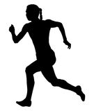 Girl sprinter athlete. Fast running black silhouette Stock Photography