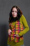 Girl in squared waistcoat Stock Photo
