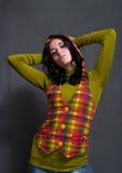 Girl in squared waistcoat Stock Image