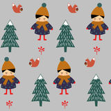 Girl with squirrel in forest seamless pattern on gray background. Royalty Free Stock Photo