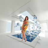 Girl by a sswimming pool with ice cubes Royalty Free Stock Photo