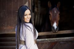Girl in the stable. Pretty girl in the stable Royalty Free Stock Image