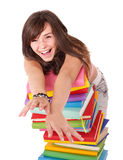 Girl with stack book . Stock Photography