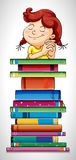 Girl and stack of books Royalty Free Stock Photos