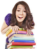 Girl with stack color book . Stock Photo