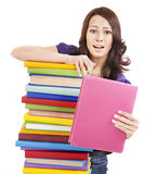 Girl with stack color book . Royalty Free Stock Images