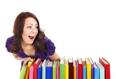 Girl with stack color book . Stock Image