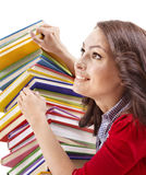 Girl with stack color book . Stock Photos
