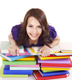 Girl with stack color book . Royalty Free Stock Image