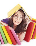Girl with stack color book . Stock Images