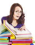 Girl with stack color book . Royalty Free Stock Photos