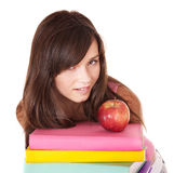 Girl with stack colored book . Royalty Free Stock Photo