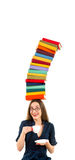 Girl with stack of colorful books on her head Royalty Free Stock Photography