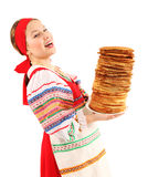 Girl with stack of pancakes Royalty Free Stock Photos