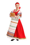 Girl with stack of pancakes Stock Image